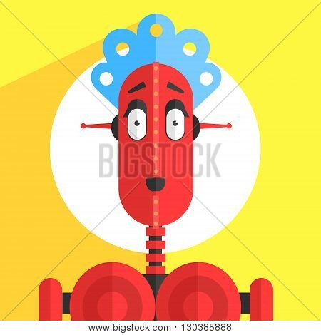 Servant Girl Robot Character Portrait Icon In Weird Graphic Flat Vector Style On Bright Color Background