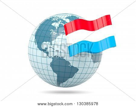Globe With Flag Of Luxembourg