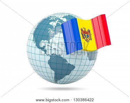 Globe With Flag Of Moldova