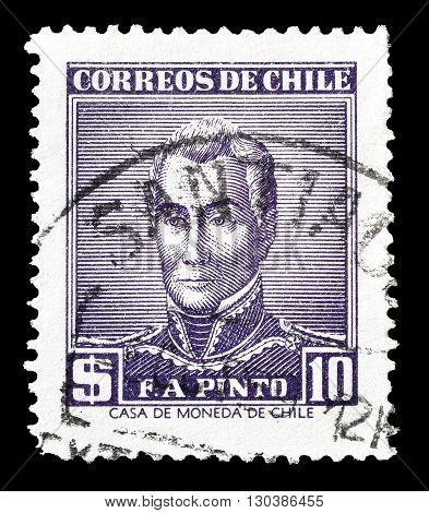 CHILE - CIRCA 1958 : Cancelled postage stamp printed by Chile, that shows Francisco Pinto.