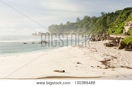 Seychelles, LaDigue island, tropical beach, fogy air