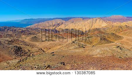 The Israeli Zefahot Mount overlooks Aqaba Gulf mountains of Jordan Egypt and Saudi Arabia.