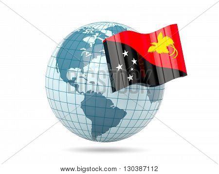 Globe With Flag Of Papua New Guinea