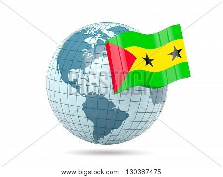 Globe With Flag Of Sao Tome And Principe