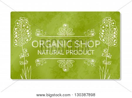 Business card or storefront for the sale of organic food. Vector illustration