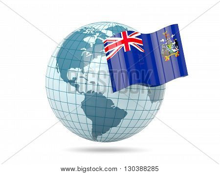 Globe With Flag Of South Georgia And The South Sandwich Islands
