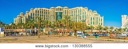 EILAT ISRAEL - FEBRUARY 23 2016: The center of the luxury Israeli resort is occupied by the modern hotel complexes and shopping centers on February 23 in Eilat.