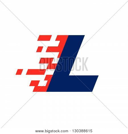 L Letter With Abstract Checkered Flag