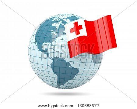 Globe With Flag Of Tonga