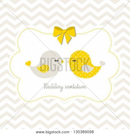 Yellow wedding invitation with two cute birds on abstract chevron background, vector illustration, eps 10
