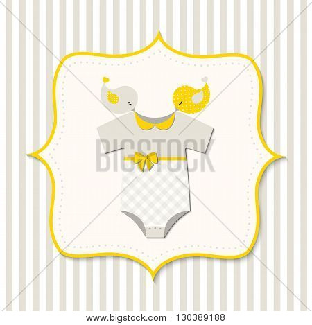 Yellow baby shower, card with baby bodysuit, vector  illustration, eps 10 with transparency