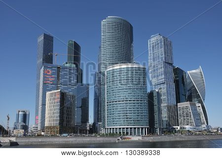 MOSCOW, RUSSIA - MAY 13, 2016: View of high-rise towers Moscow International Business Center (Moscow-city)