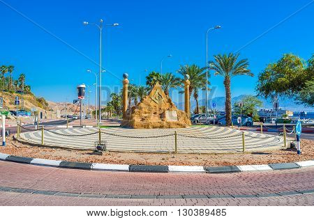 EILAT ISRAEL - FEBRUARY 24 2016: The scenic sculpture decorates the road in neighborhood of Coral Beach on February 24 in Eilat.