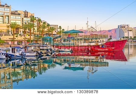 EILAT ISRAEL - FEBRUARY 23 2016: The scenic views of the port make it one of the most romantic places in resort on February 23 in Eilat.