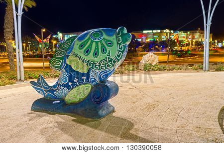 EILAT ISRAEL - FEBRUARY 23 2016: The colorful fish in square next to Eilat Museum on February 23 in Eilat.