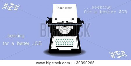 Abstract colorful background with a typewriter machine typing a resume. Job search theme