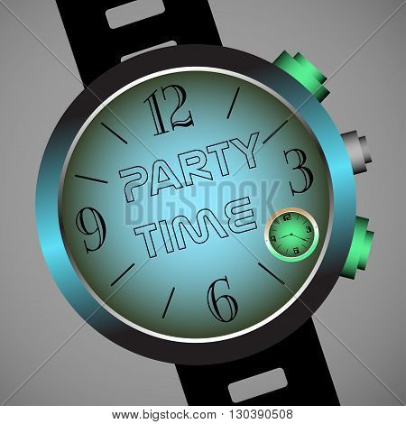 Colorful illustration with hand watch having the text party time written in the middle