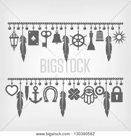 charm bracelets with symbols of good luck. vector illustration - eps 8