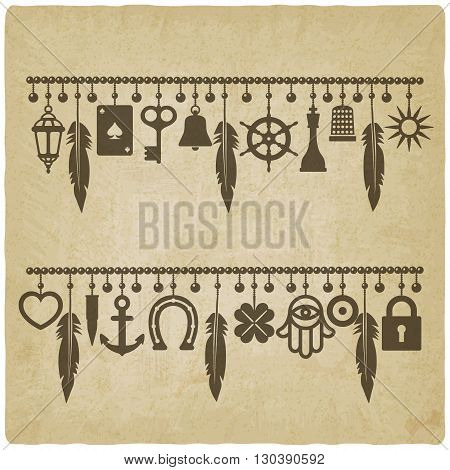 charm bracelets with symbols of good luck old background. vector illustration - eps 10