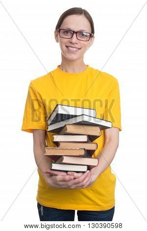 Girl In Yellow T-shirt Holding A Stack Of Books