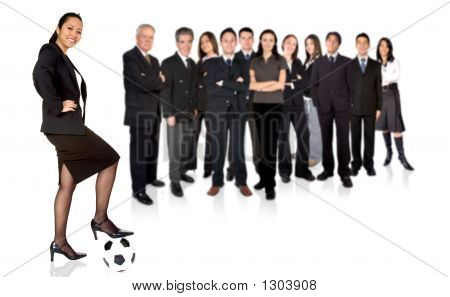 Confident Asian Businesswoman With A Business Team Behind