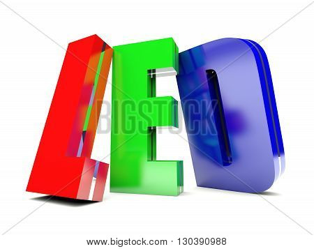 RGB LED - colored text on white background 3D render
