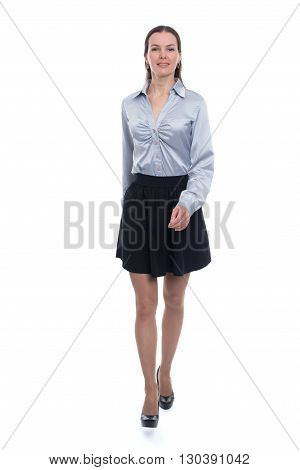 Full Length Woman Walking. White Background