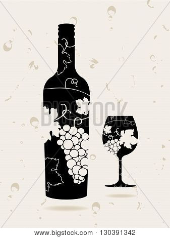 Bottle wine glass grapes on retro background