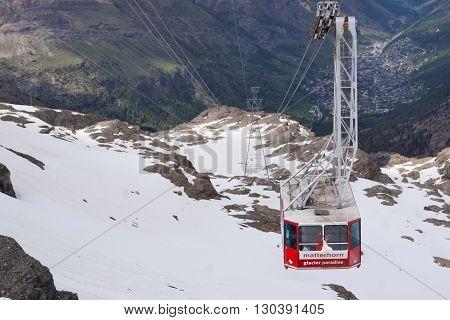 Zermatt, Switzerland - June 12, 2013: Cable car from Zermatt to Matterhorn in Swiss Alps