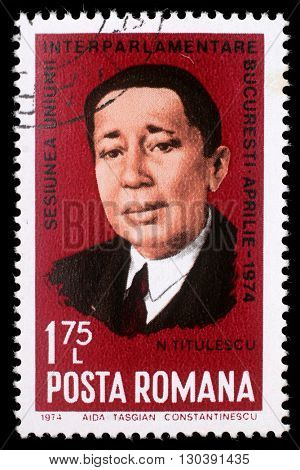 ZAGREB, CROATIA - JULY 19: stamp printed in Romania shows Nicolae Titulescu diplomat and President of the General Assembly of the League of Nations, circa 1972, on July 19, 2012, Zagreb, Croatia