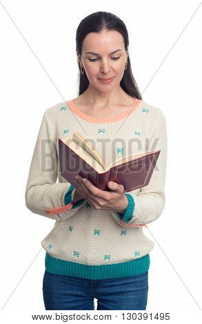 Happy Young Woman Reading Book. Isolated
