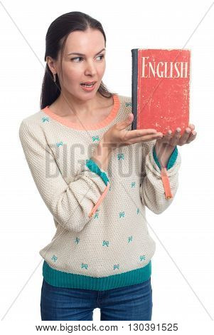 English Language Learning. Woman Holding An English Textbook