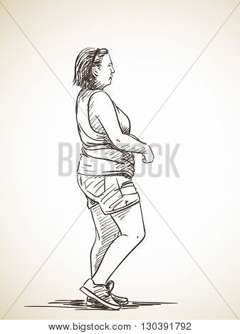 Sketch of woman walking, Hand drawn illustration
