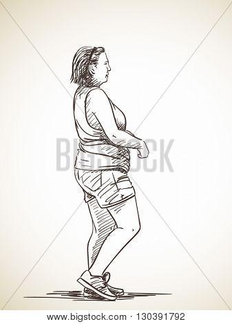 Sketch of woman walking, Hand drawn illustration