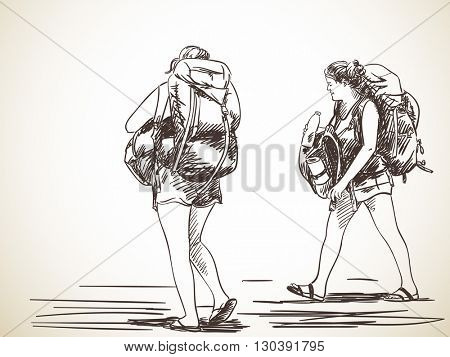 Sketch of two young women walking with backpack, Hand drawn illustration