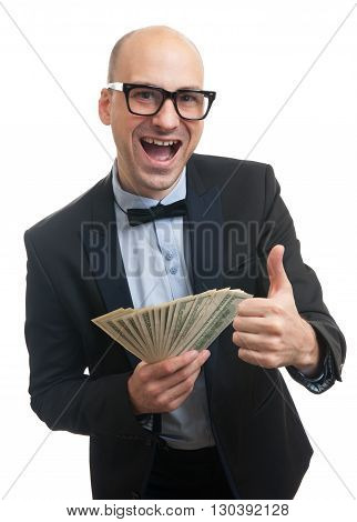 Happy Rich Man Holding A Lot Of Money
