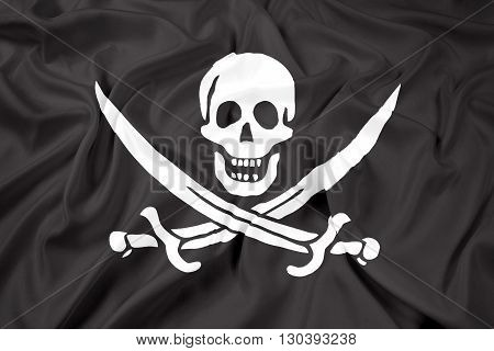 Waving Calico Jack Pirate Flag, with beautiful satin background