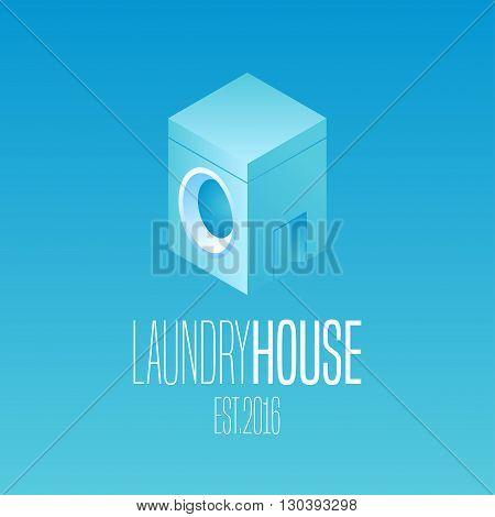 Laundry vector icon logo. Washing machine washer