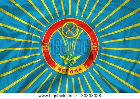 Waving Flag of Astana, with beautiful satin background
