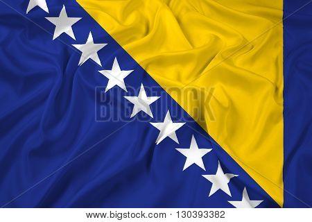 Waving Flag of Bosnia and Herzegovina, with beautiful satin background