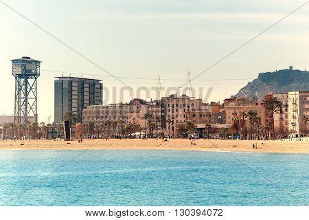 BARCELONA SPAIN - February 2 2016: View of Barceloneta Beach in Barcelona Spain