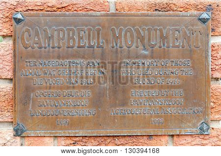 BAVIAANSKLOOF SOUTH AFRICA - MARCH 6 2016: A memorial plaque for people who died in a flood in 1916 in the Baviaanskloof (baboon valley).
