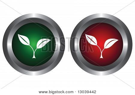 Two buttons with plants