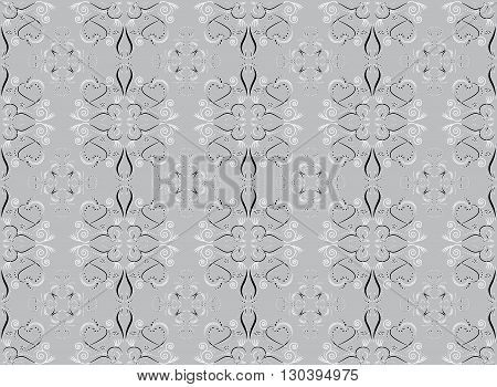 Floral and hearts seamless pattern editable color background.