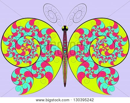 Hypnotic colored butterfly with a spiral pattern on the wings.