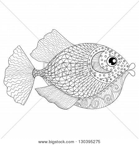 Hand drawn zentangle Fish for adult anti stress coloring pages, post card, mehendi t-shirt print,  logo icon. Isolated sea animal illustration in doodle, boho style, henna tattoo design.