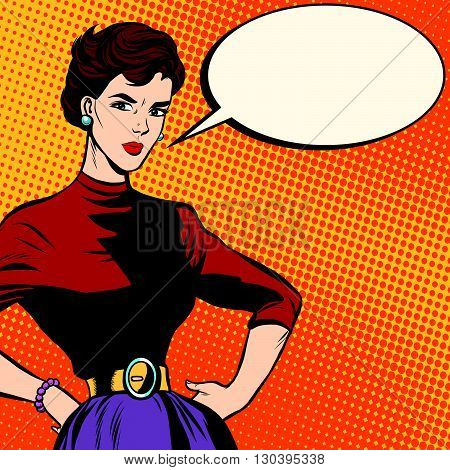Strict beautiful retro woman pop art retro vector. Serious girl