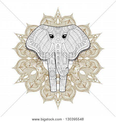 Hand drawn zentangle Ornamental Elephant on mehendi mandala for adult coloring pages, post card, t-shirt print, Elephant logo icon. Isolated animal illustration in doodle, boho style, henna tattoo design.