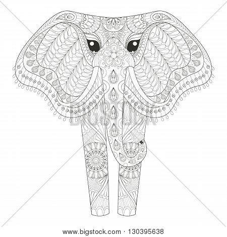 Zentangle Ornamental Elephant for adult coloring pages, Hand drawn animal post card, mehendi t-shirt print, logo icon. Isolated animal illustration in doodle, boho style, henna tattoo design.
