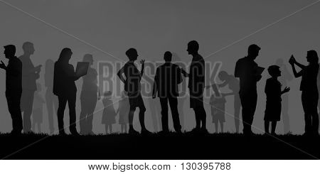 Group Of Multi-Ethnic People Outdoors In A Social Media Concept